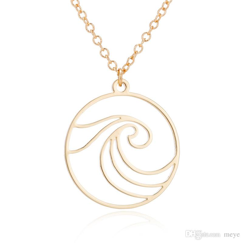 """Stainless Steel Pendant Brass Chain Necklace Charm Women Choker Jewelry Collier Contracted Cute waves in circle Necklaces NYX-21"""