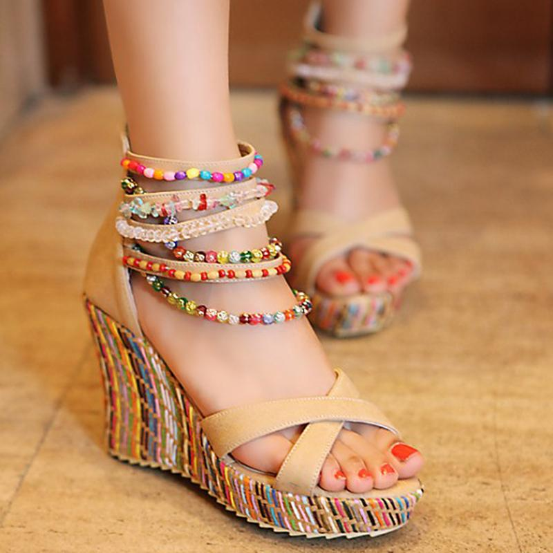 9be639d17 2019 Summer Women Sandals New Wedge High Heel String Bead Women Shoes Female  Footwear Bohemia Ladies Platform Sandals LP160 Shoe Shop Cute Shoes From ...