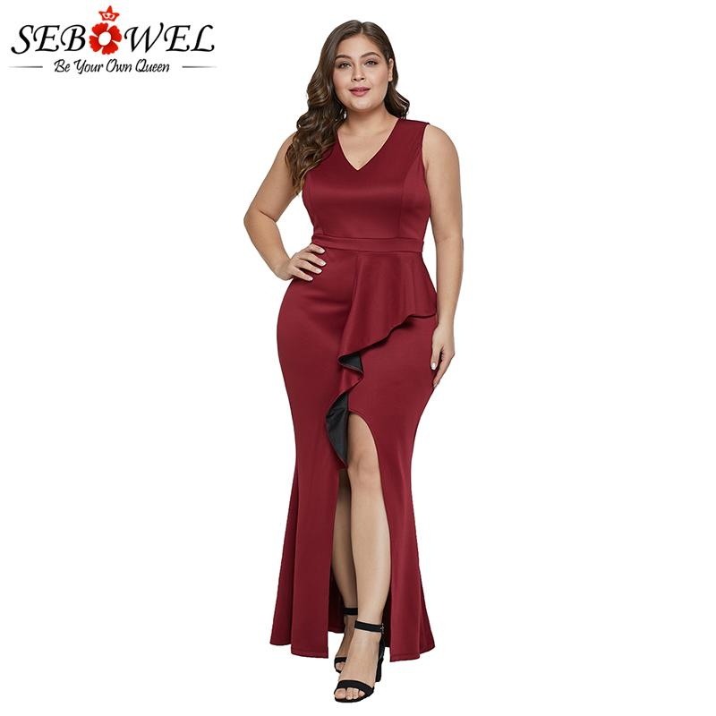 ee6f2b8c41 SEBOWEL Burgundy Plus Size Party Dress Women Sexy Split Bodycon Maxi Dress  Evening Gown Elegant Sleeveless Ruffle Long Womens Long Dresses Casual  Party ...