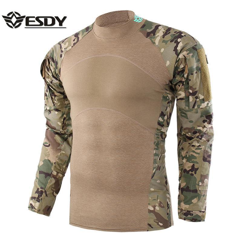 tout neuf 26a29 e2f70 Hommes Nouvelle Tactique Chemise En Plein Air Chasse Chemise Chasse Couche  de Base Motif De Camouflage À Manches Longues Vêtements Pour Homme