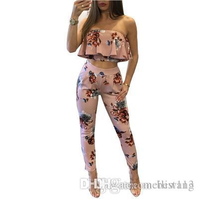 bdc078eefba4 2019 Wholesale Off Shoulder Sexy Floral Print Jumpsuits Two Piece Backless  Club Rompers Womens Jumpsuit Strapless Full Bodysuit Summer Overalls From  Best113 ...