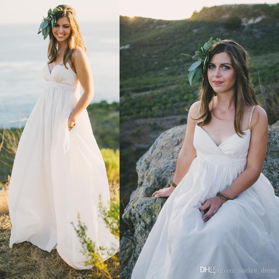 e1811af746be 2019 Maternity Beach Wedding Dresses Sexy Plus Size Spaghetti Straps ...