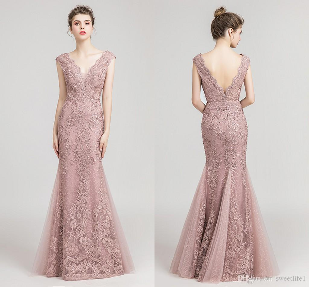 2019 Elegant Dusty Pink V Neck Evening Dresses Pearls Low Backless Mermaid  Lace Appliques Sequins Formal Occasion Prom Dresses Real Image Evening  Dresses ... b1d6fe1c8130