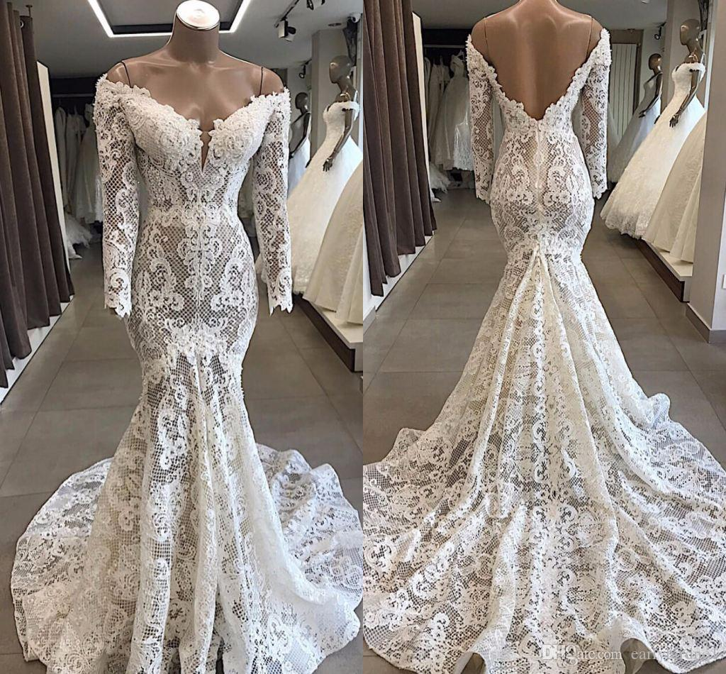 Luxury Full Lace Long Sleeves Mermaid Wedding Dresses Vintage Off Shoulder Sweetheart Open Back Bridal Gown