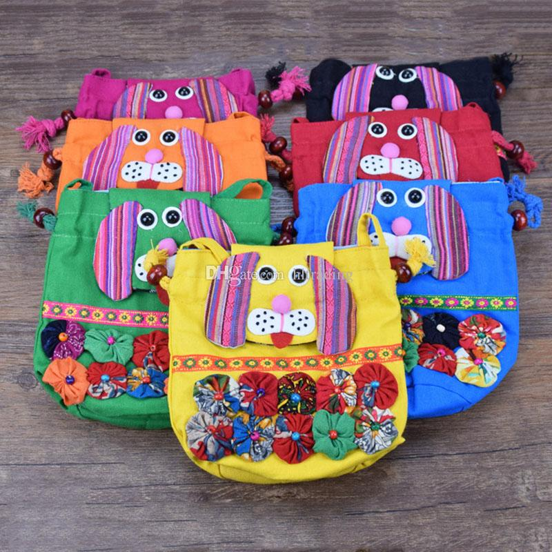 Chinese Ethnic Character Cloth Handmade Preschool Baby owl Elephant monkey Dog Colorful Stitch kids Shoulder Bag C2872