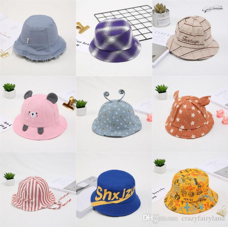 d7ecf7d3 2019 Cartoon Striped Letter Bucket Hats Summer Soft Cotton Summer Baby Sun  Hat Infant Boys Girls Bucket Hat Cotton Toddler Kids Tractor Cap From ...
