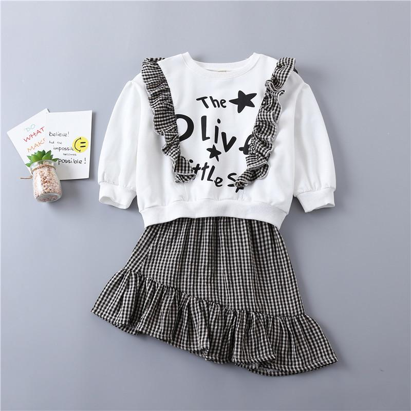 0-6 years High quality girl clothing set 2019 spring new preppy style kid children clothing cotton T-shirt+Irregular plaid skirt