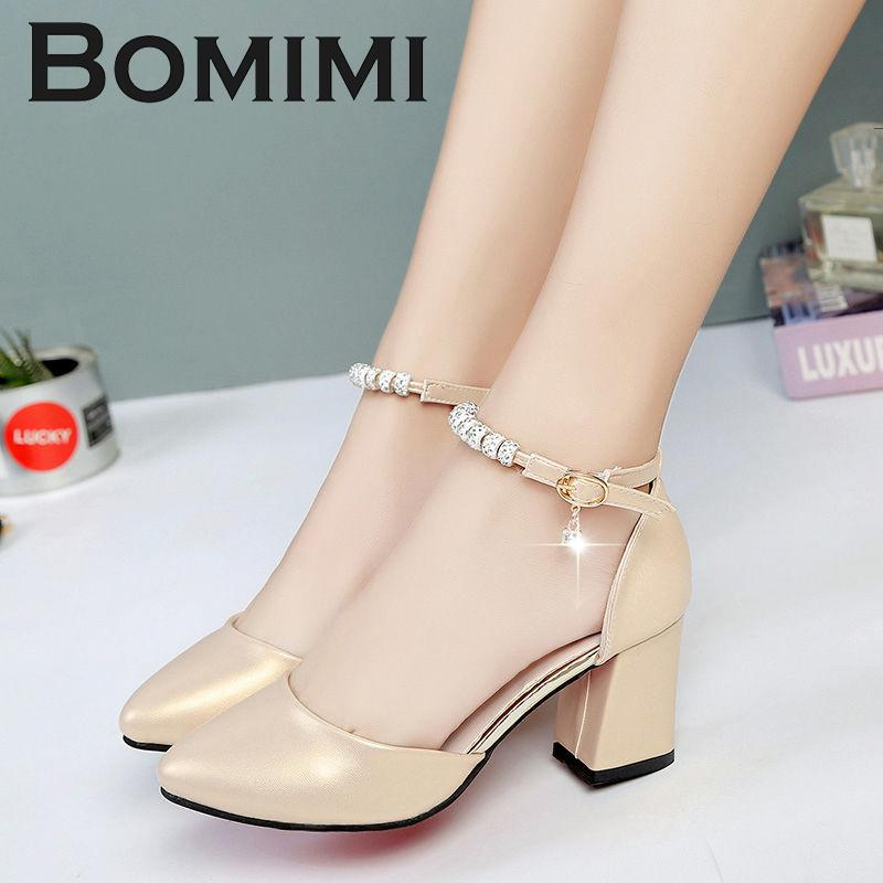 59d89dfcd9a1 Dress Shoes Bomimi Women Pumps 3 5 Cm Mid Heel Female Ankle Strap Sandals  Thick Heels Women Party Wedding Pumps High Heels Heels From Deal4