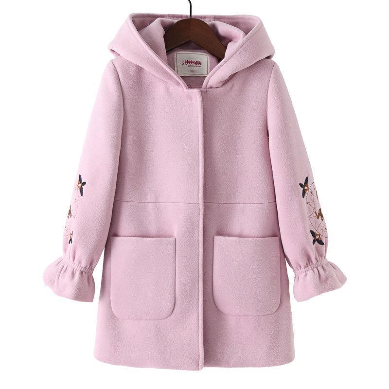 f1d14d82c 2018 Autumn Winter Girls Coat Woolen Pink Red Flores Design Petal ...