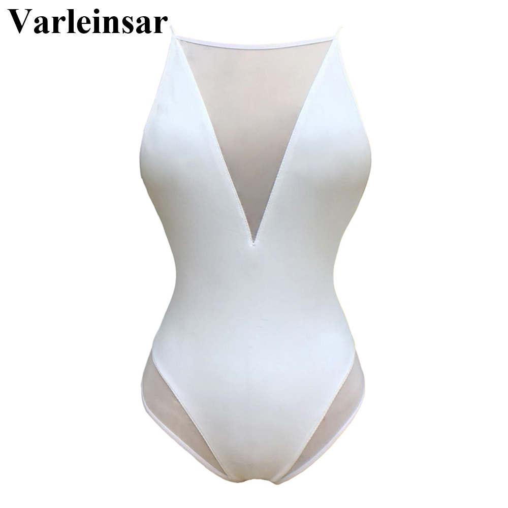 Bather mesh splicing swim suit Sexy Backless one piece swimsuit Women swimwear high neck Bathing suit female Monokini V348
