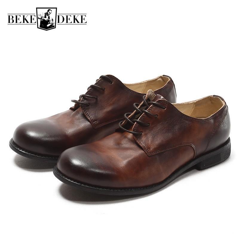b5271a17b9 Compre Itália Vaca Dos Homens Do Vintage Sapatos De Couro De Trabalho De  Couro Real Rendas Até Dedo Do Pé Redondo Escritório Sapatos Formais Sapatos  De ...