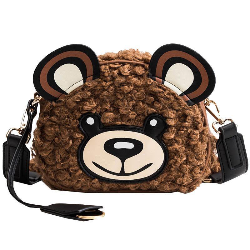 Good Quality Lovely Cartoon Winter Faux Fur Female Messenger Handbag Bear  Head Women Shoulder Bag For Girl Kid Gift Cute Toy Bag Cute Purses Rosetti  ... 83276a92f3fb0