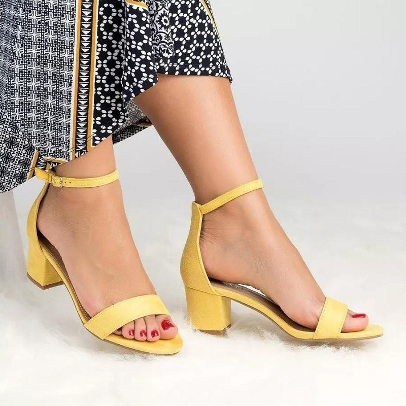 26af32b45033 New High Heels Women Sandals Gladiator Summer Buckle Strap Yellow Shoes  Ladies Sexy Block Heel Open Toe Leopard Sandals Big Size Shoes Uk Mens  Chelsea Boots ...