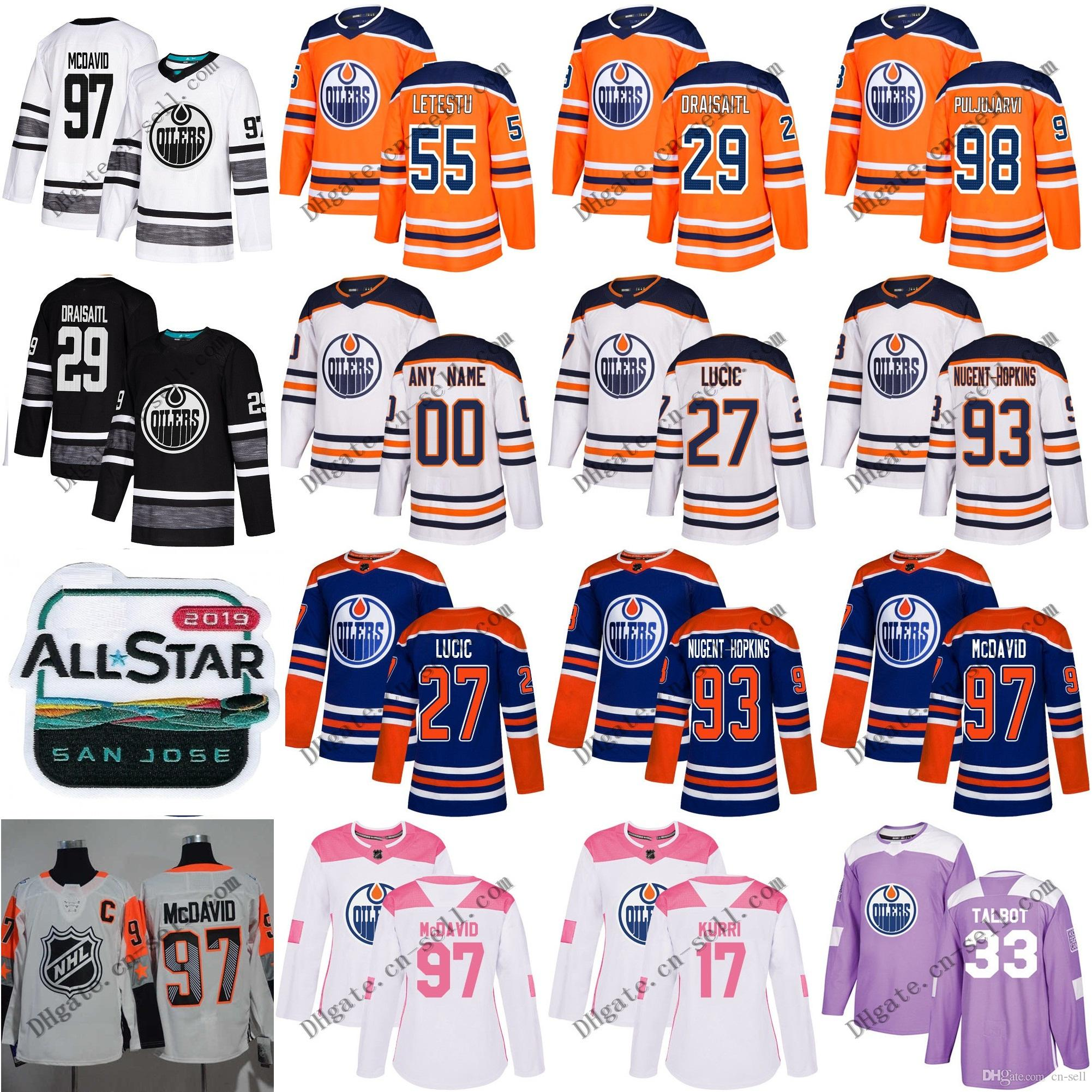 san francisco 5c63f d18f4 Custom Men Women Edmonton Oilers 97 Connor McDavid 99 Wayne Gretzky 29 Leon  Draisaitl 27 Milan Lucic 93 Nugent-Hopkins Youth Hockey Jerseys