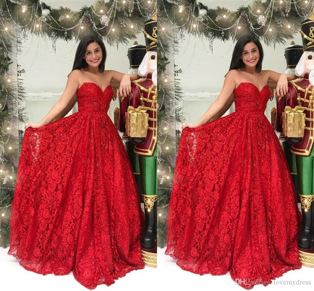 low priced f359c 03011 Pizzo rosso perline eleganti abiti da sera formale 2019 senza spalline  aperto indietro arruffato vestito da tappeto rosso abiti da cerimonia abiti  ...