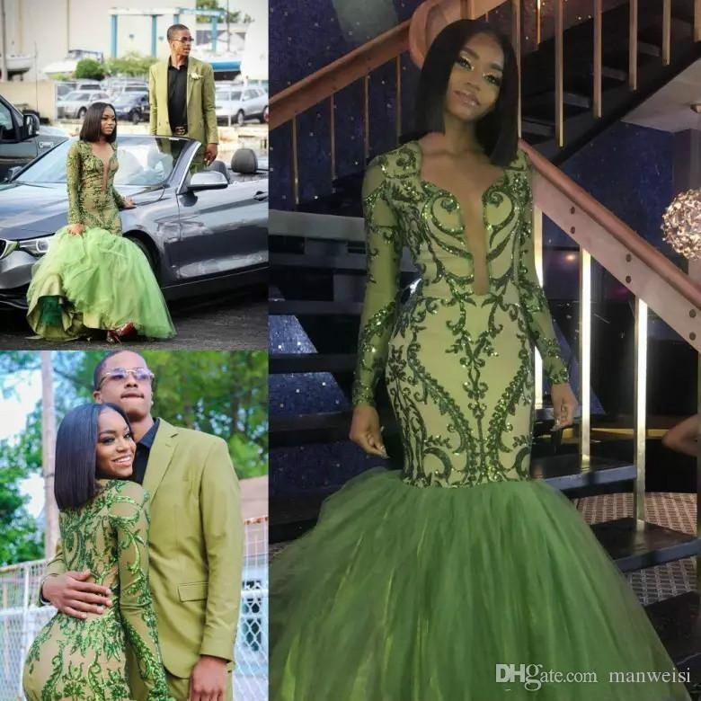 df48f7e6180 African Mermaid Green Prom Dresses 2019 Skirts Appliques Sequined Long  Sleeves Plunging V Neck Evening Gowns Reception Dress Plus Size Short  Formal Dresses ...