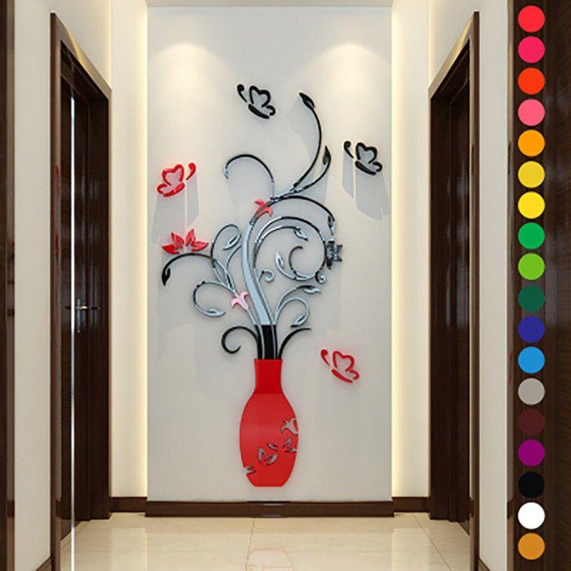 fashion home wall stickers diy 3d vase flower tree crystal arcylic