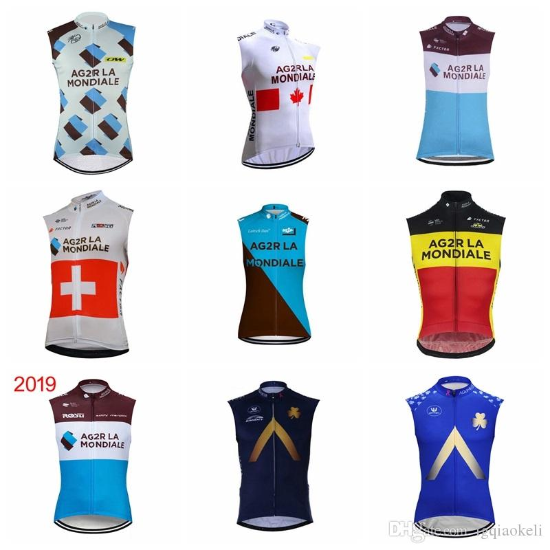 2019 Summer men AG2R Aqua Blue Cycling Jersey Quick-Dry Sleeveless Vest bicycle Tops ropa ciclismo road bike clothing riding shirt K031801