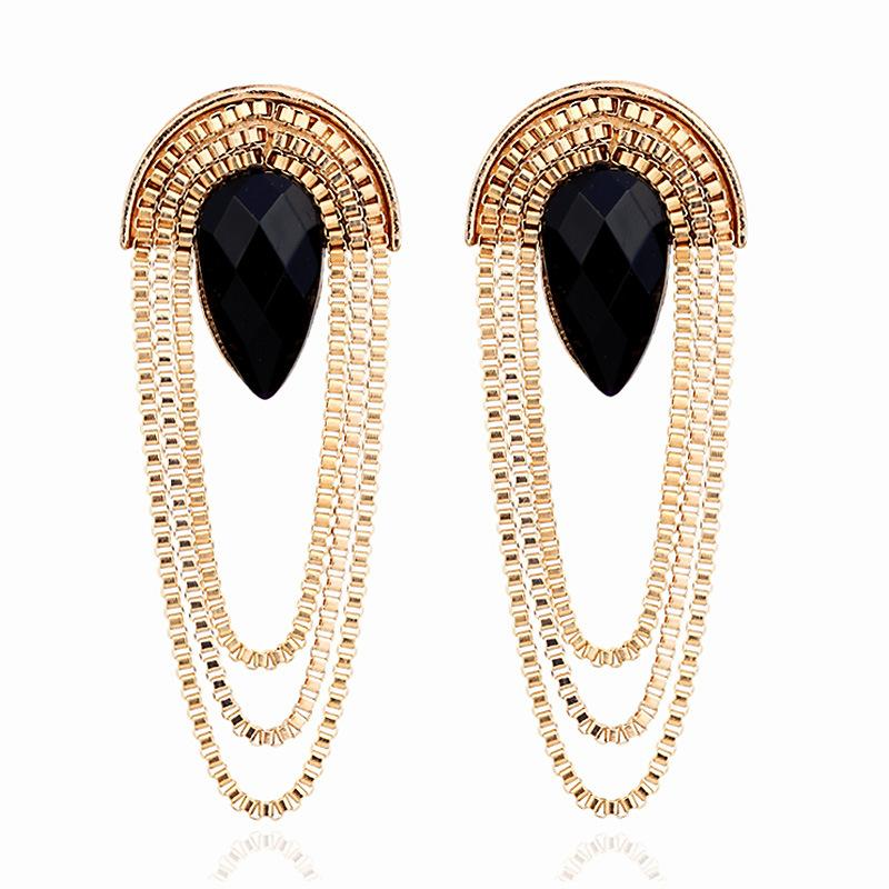 f4d165fa8ed4b3 2019 Women's Earring Vintage Statement Gem Gold Alloy Chain Tassel Earrings  For Women Luxury Design Earings Fashion Jewelry