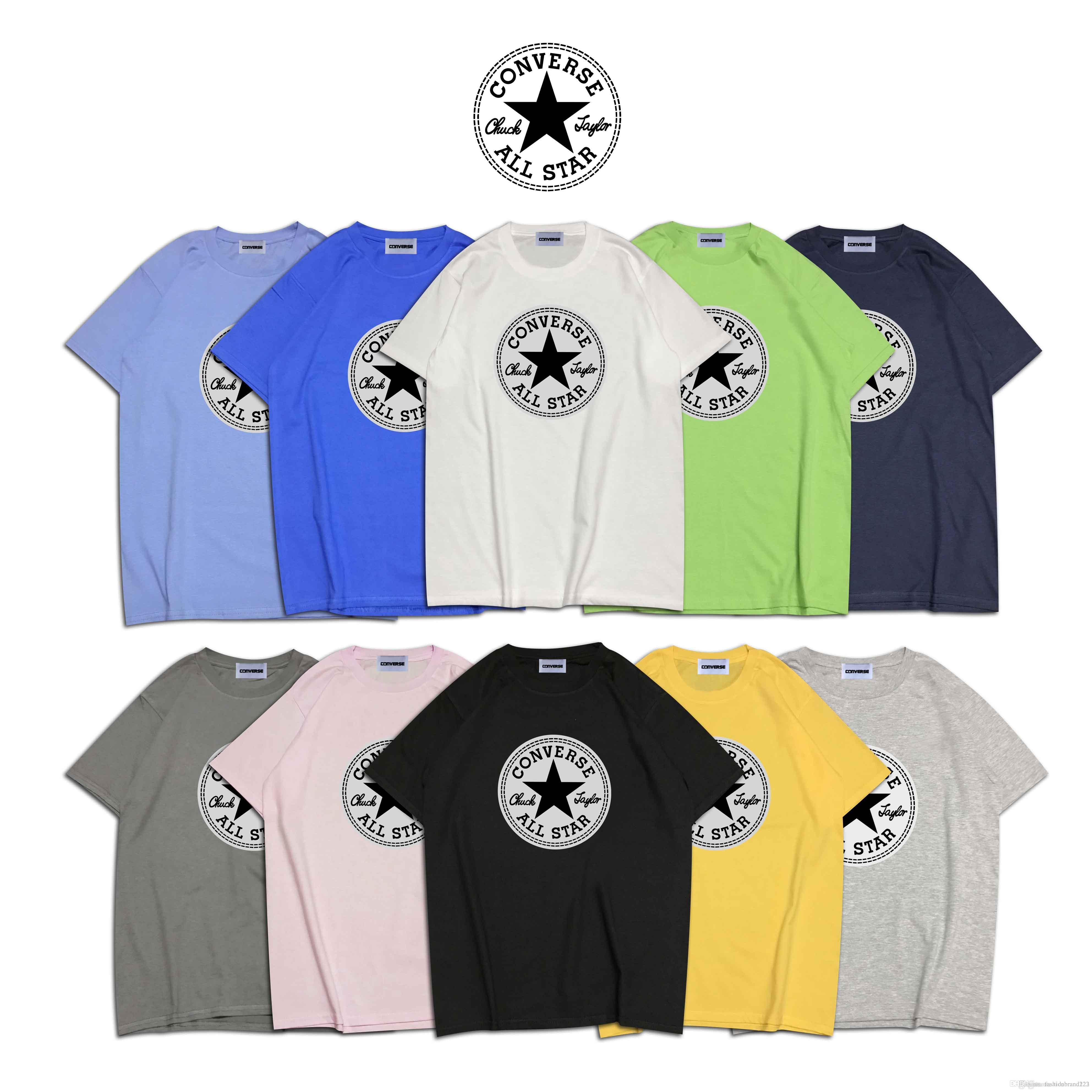 440cbfd66c converse Multi-color optional high quality cotton round neck breathable  printed short-sleeved couple T-shirt men's designer T-shir