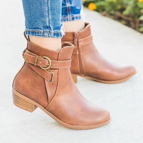 Women's Mid-Heel Ankle Boots Women's Belt Buckle Short Tube Round Head Boots Non-slip Ankle Short Round Head
