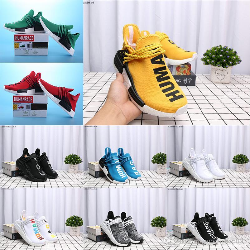 2018 Original Pharrell Williams NMD de race humaine hommes femmes Sports Chaussures de course Noir Blanc Gris Nmds primeknit coureur PK XR1 R1 R2