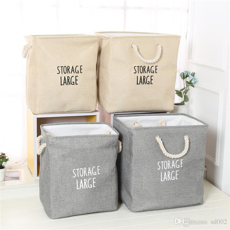 Fold Storage Box Large Size Basket Cotton Rope Handle Dirty Clothes Bucket Thickening Double Deck Hot Sale Big Bag 20ytB1