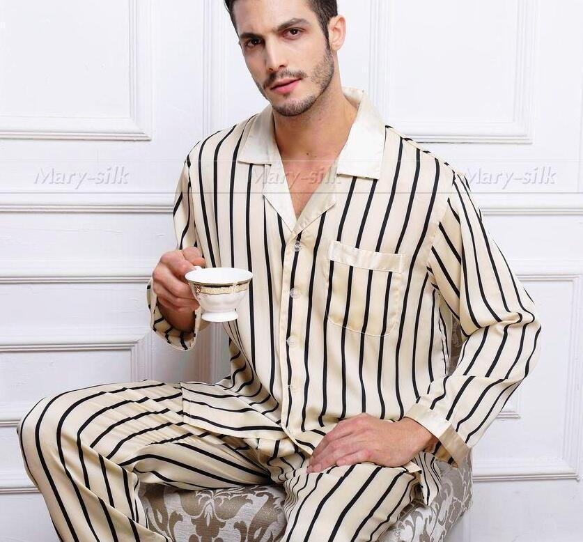 Mens Silk Satin Pajamas Set Pajama Pyjamas PJS Set Sleepwear ... a9088eb66