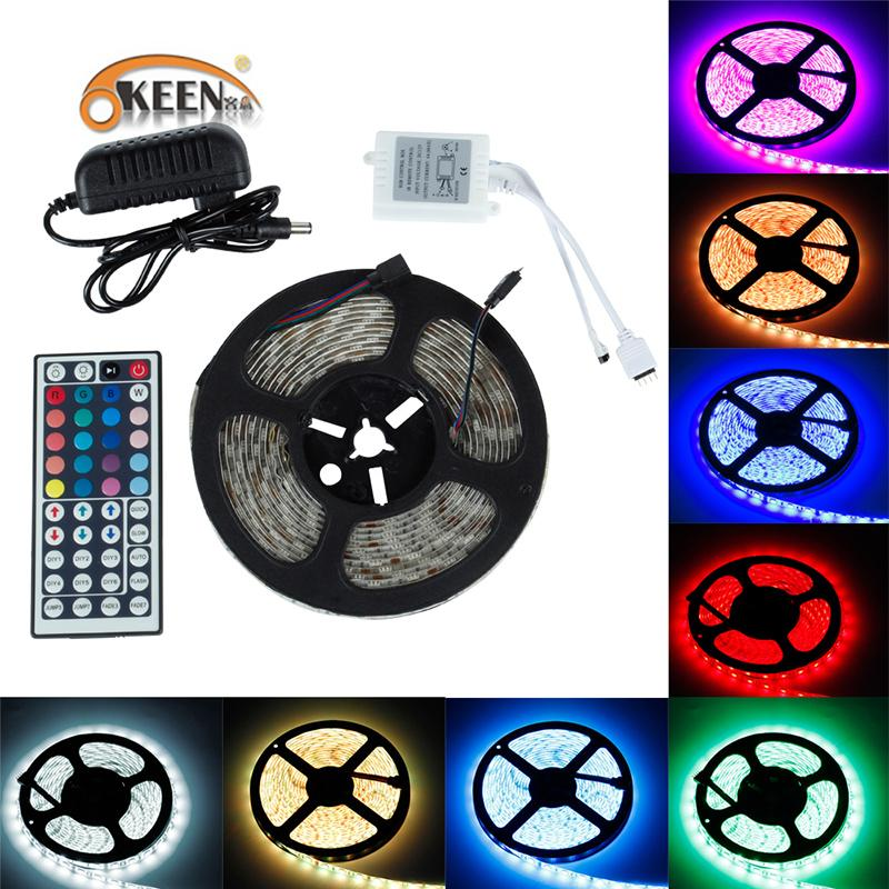 5050 SMD RGB LED Strip Light LED light 5m 10M 12v LEDs tape LED diode waterproof flexible 44Keys controller DC 12V adapter