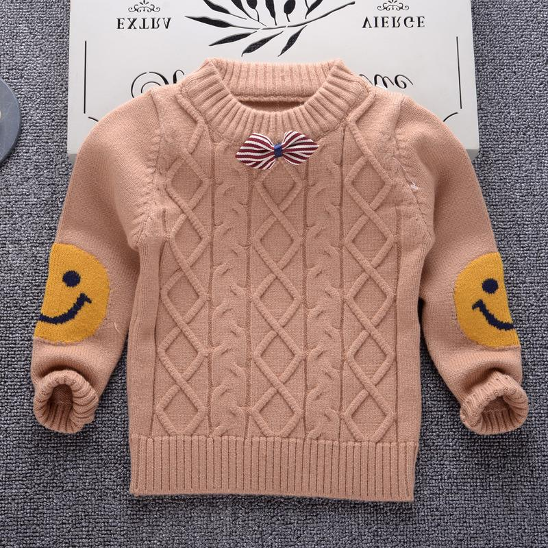 good quality Autumn Winter Cotton Sweater Top Children Clothing Boys Girls Knitted Sweater Kids Spring Wear Smile Pattern