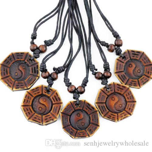 Wholesale 12 pcs Taoism Tai Chi pendants necklaces Bagua charms for men women's jewelry gift