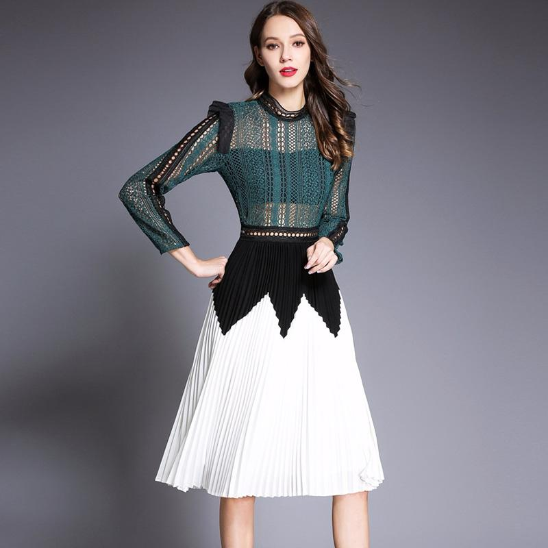12f98d3803b6 2019 New Arrival Women S O Neck Long Sleeves Embroidery Hollow Out Lace  Patchwork Pleated High Street Designer Casual Dresses From Xbeauty
