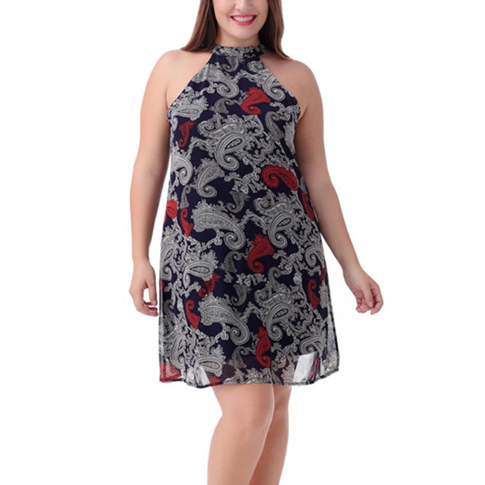Women 5XL 6XL 7XL 8XL Plus Size Shift Dress Sleeveless Vintage Chiffon Dress  Paisley Print Halter Draped Zip Back Dress Vestidos Designer Prom Dresses  Black ... 24d3d3a9fbca