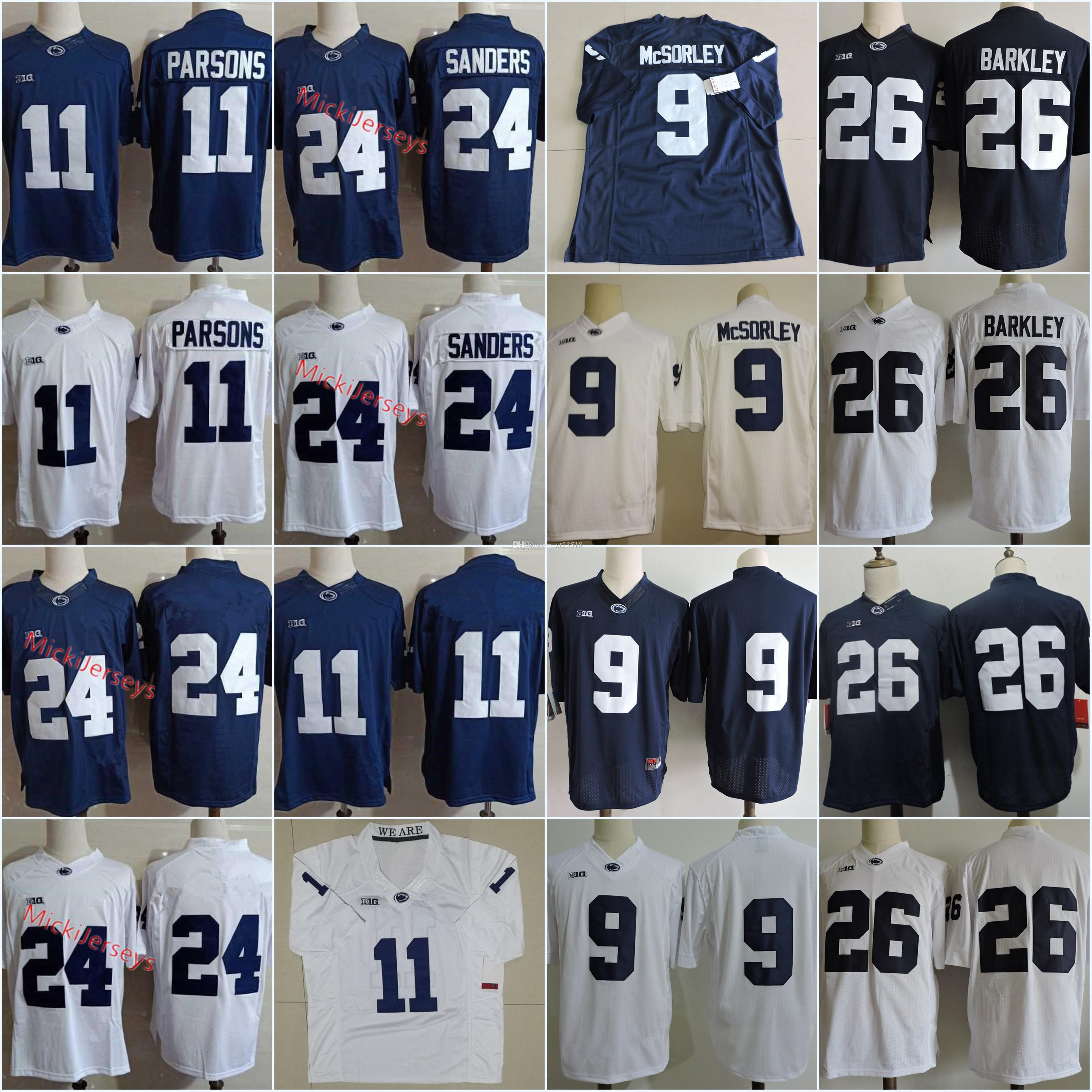 41c9ba877e6 2019 Mens Penn State Nittany Lions Micah Parsons Football Jerseys NCAA 26 Saquon  Barkley 9 TRACE McSORLEY  24 Miles Sanders Lions Jersey S 3XL From Xt23518