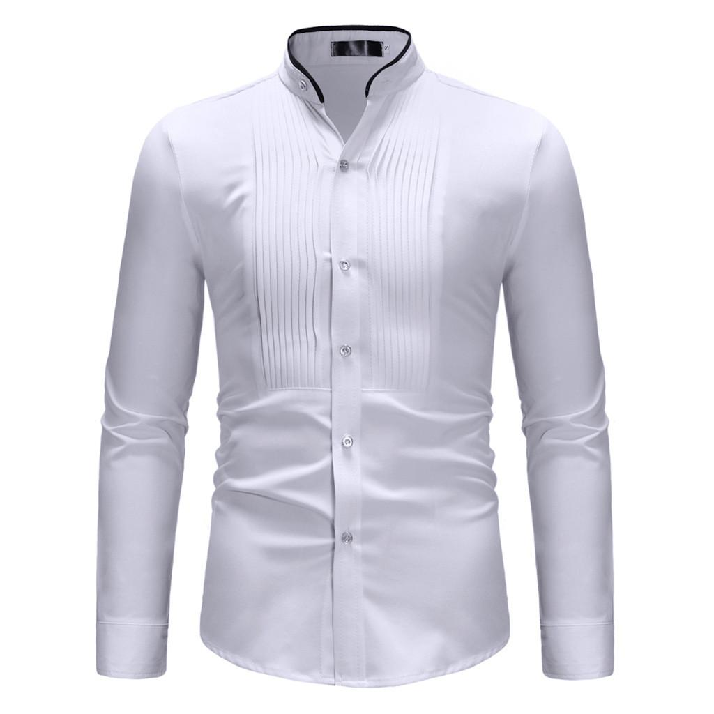 2019 Spring Autumn Solid Shirts High Quality Mens White Shirt Casual