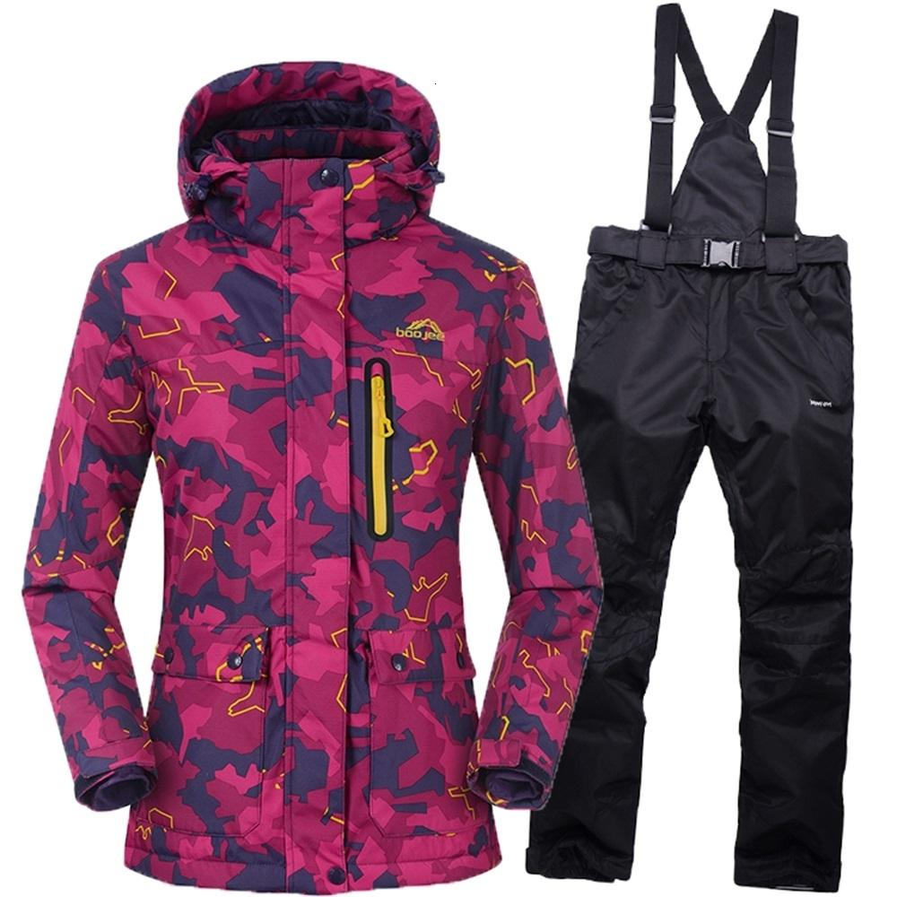 NEW women's ski suit 2016 Winter Waterproof Warm woman ski suit For Mountain Skiing Snowboard jacket Female Breathable Snow Sets T190920