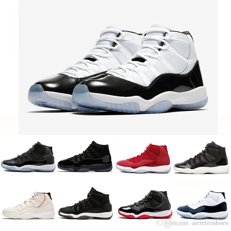 Newest 11XI 11s Concord 45 Mens Basketball Shoes Platinum Tint Cap And Gown  Gym Red Women Men Bred Space Jam Sports Sneakers 36 47 Cool Basketball Shoes  ... 553a34174f12