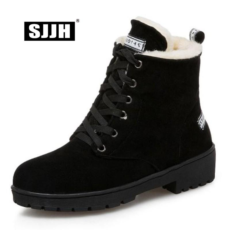 bf17f983ce474 SJJH Women Casual Ankle Snow Boots With Round Toe Nubuck Lace Up Short  Plush Boots Winter Warm Fashion Shoes Large Size A1380 Rain Boots For Women  Wedge ...