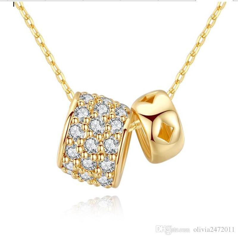 7fd4833a80 Compre Novo 18 K Cor De Ouro Duplo Cubic Zirconia Balls Pingente De Colar  Para Mulheres Menina Link Chain Sorte Círculo Colar Bijoux Presentes  Casamento ...