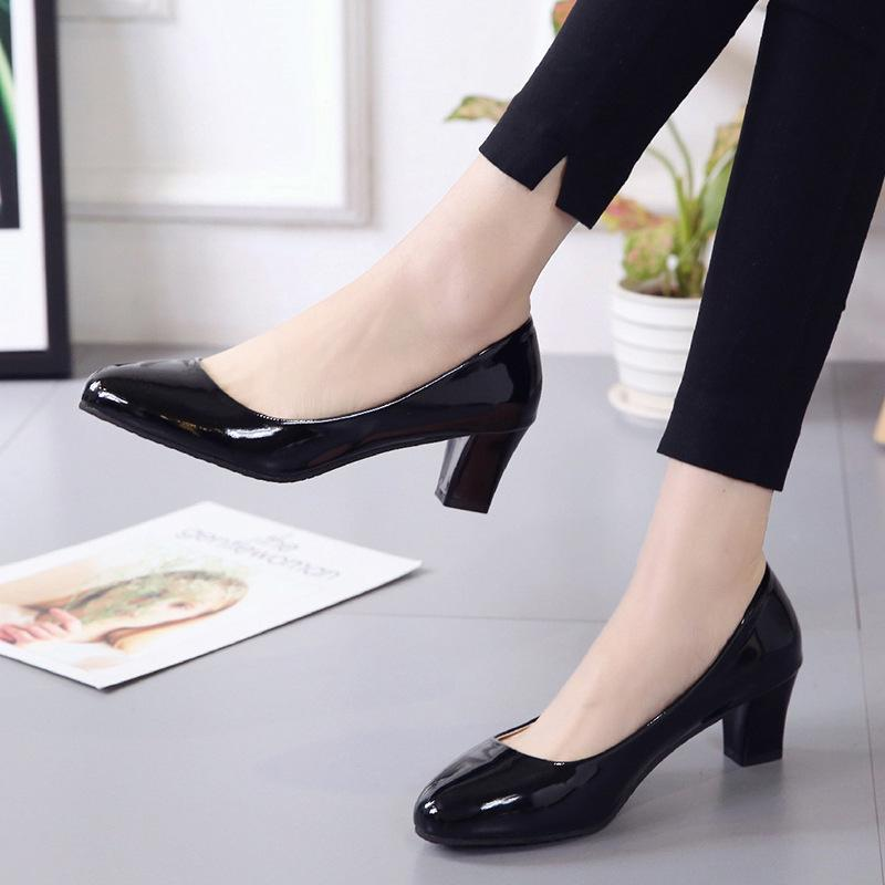 95d5200d56fd Designer Dress Shoes European And American Women Sexy Med Thick Heels 5cm  Shallow Shoe Work Office Woman Black Ol Platform Heels Women Mens Sandals  Mens ...