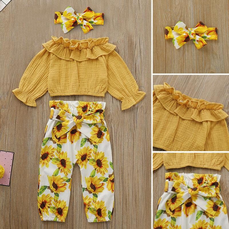 Toddler Baby Kid Girl Floral Outfits Little Girls Long Sleeve T-shirt Tops+Pant+Headband 3Pcs Clothing Set 1-4T Summer