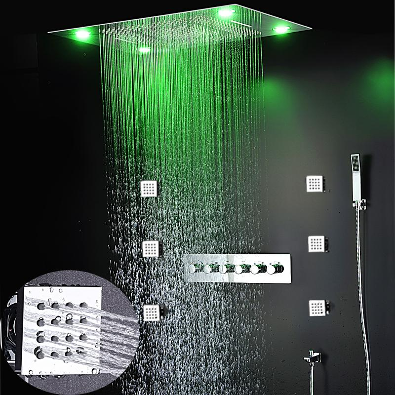 2019 Luxury Led Rain Shower Sets Massage System 600x800 Mm Ceiling