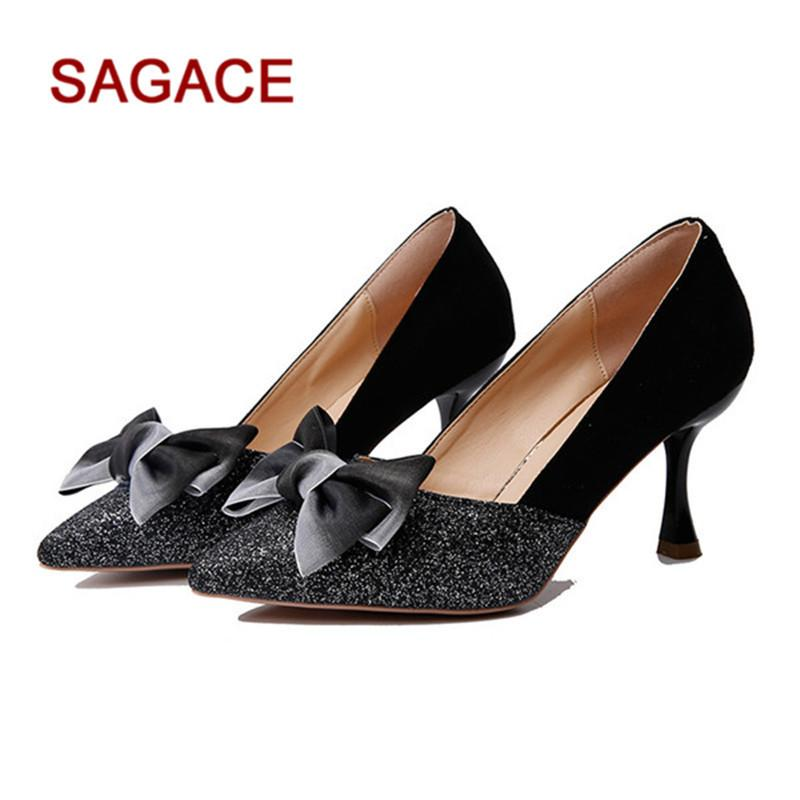 5e5a0bc56f6 Hb 2019 New Ladies Pumps Casual Women Pointed Stiletto Shallow Mouth Single  Shoes Bow Sequins High Heels Shoes Zapatos De Mujer Mens Chelsea Boots Pink  ...