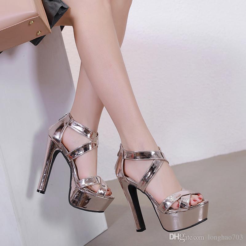 809ea8d80 Compre Sandálias De Plataforma Mulheres Saltos Tornozelo Cinta Saltos Mulher  Sandles Extremo Salto Alto Sandálias Sapatos De Casamento Salto Médio  Sandálias ...