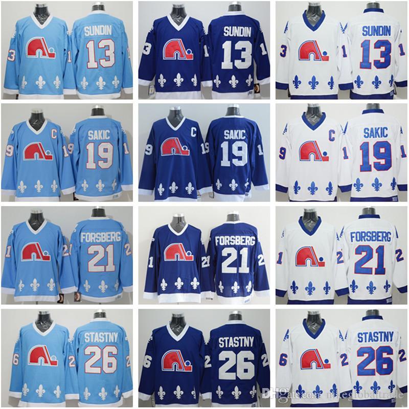 Men S Quebec Nordiques Hockey Jerseys 13 Mats Sundin 21 Peter Forsberg 26  Peter Stastny 19 Joe Sakic Top Quality Vintage Hockey Wear UK 2019 From ... d018271c2