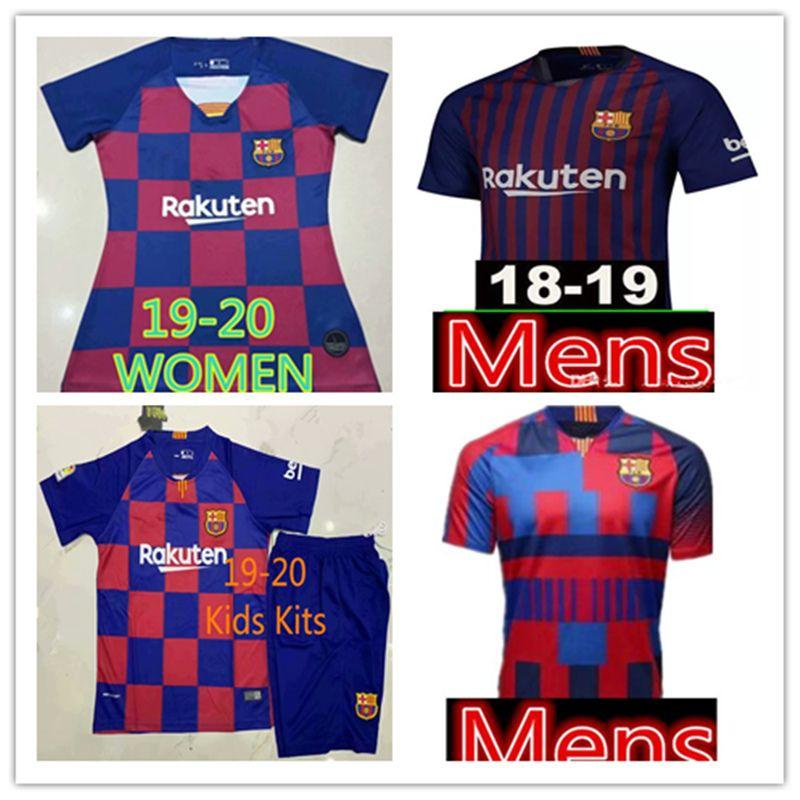 14e4e4024 Cheap 2019-2020 Barcelona MESSI Soccer Jerseys Suárez A.INIESTA DEMBELE  COUTINHO 18 19 Shirts Barcelona WOMEN Man Kids Kits Football Shirt