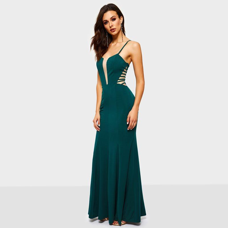 c765def58d Mermaid Long Dress Women Summer Party Evening Elegant Stylish Deep V Hollow  Out Sexy Ladies Green Bodycon Straps Maxi Dresses Long Dresses For Summer  Maxi ...
