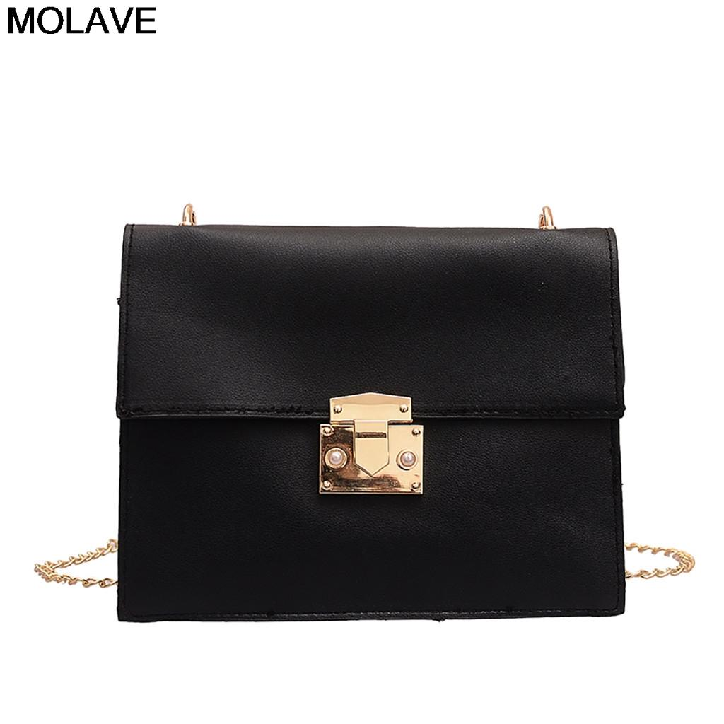 cb54013b0965 MOLAVE Shoulder Bags Fashion Simple Womens Joker Chain Bag Female Solid  Messenger Bag Versatile Small Flap bolsa feminina 18Apr8