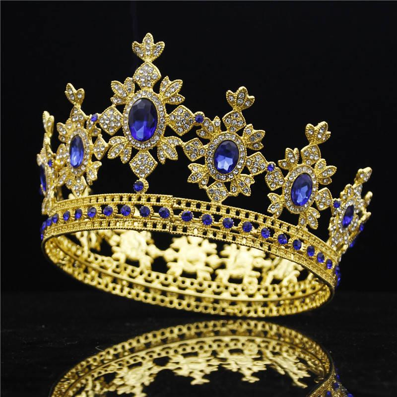 Luxury Royal King Wedding Crown Bride Tiaras And Crowns Queen Hair Jewelry Crystal Diadem Prom Headdress Head Accessorie Pageant Y19051302