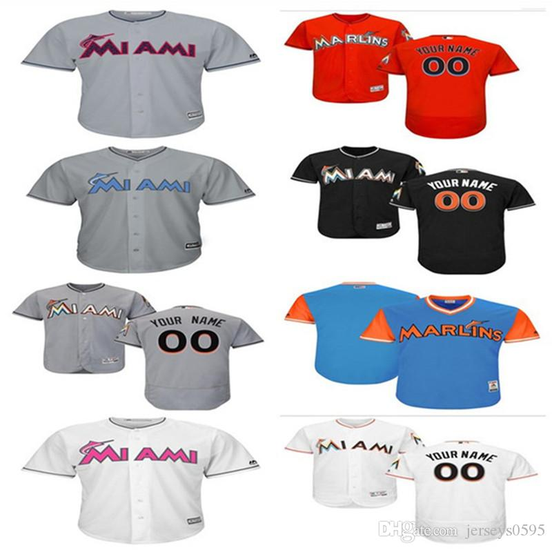 sale retailer 3b0f8 962f6 2018 custom Men s women youth Majestic Miami Marlins Jersey Any Your name  and your number Home Blue Grey White Kids Girls Baseball Jerseys